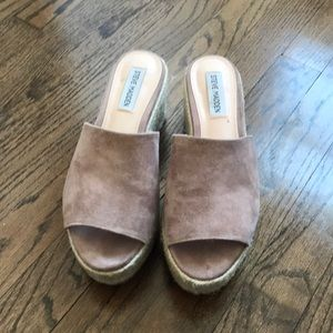 Nude suede platform sandals